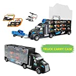 Dinosaurs Transport Car Carrier Truck Toy Dinosaur Storage Box,A Set Of (29 Pieces) Double-Sided Animal Dinosaur Transporter,Contain Storage Car1,Small Animals 24,Car 2,Aircraft 2