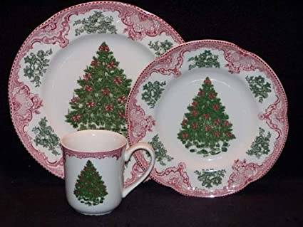 Johnson Brothers Old Britain Castles 12-Piece Christmas Tree Dinnerware Set Pink and Green & Amazon.com | Johnson Brothers Old Britain Castles 12-Piece Christmas ...
