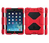 Ipad mini case, Aceguarder designnew products iPad mini 1&2&3 case [snowproof] [waterproof] [dirtproof] [shockproof] cover case with stand Super protection for kids Extreme Duty Dual Protective Back Cover Case Carabiner + whistle + handwritten touch pen (red black)