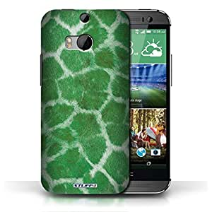 KOBALT? Protective Hard Back Phone Case / Cover for HTC One/1 M8 | Green Design | Giraffe Animal Skin/Print Collection by lolosakes