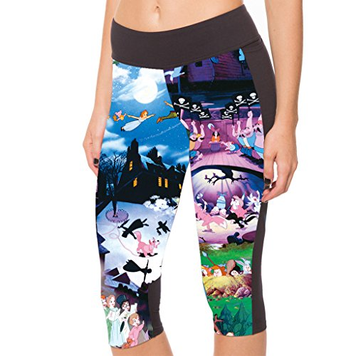 Lady Queen Women's Tinker Bell Knee Length Sports Capri Pants Tight Running Shorts L Colorful