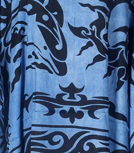 Tropicalsale Women's Plus Size Lovely Sun Dolphin Blue Caftan Tunic Hippy Top
