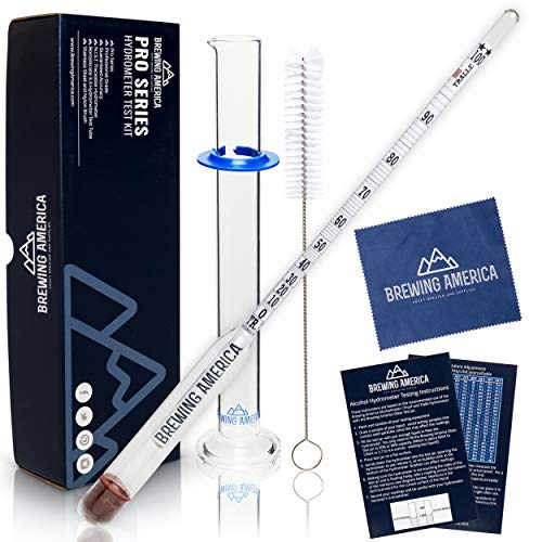 Hydrometer Alcohol Meter Test Kit: Distilled Alcohol American-made 0-200 Proof Pro Series Traceable Alcoholmeter Tester Set with Glass Jar ()
