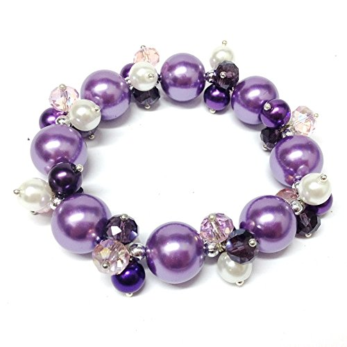 Bleek2Sheek Pearl Passion Crystal and Glass Pearl Cluster Bracelet (TRI-COLOR PURPLE)