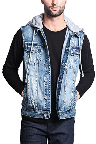 Victorious G-Style USA Detachable Hood Denim Vest DK108 - Distressed Indigo - 2X-Large - GG1F