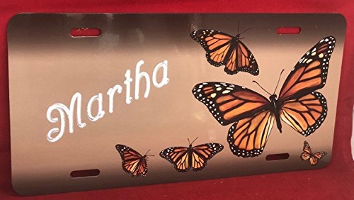 (Mirror Mania Butterfly Personalized Custom License Vanity Plate Free Engraved Auto Car Tag License Plate Beautifully Designed and Specially Made)