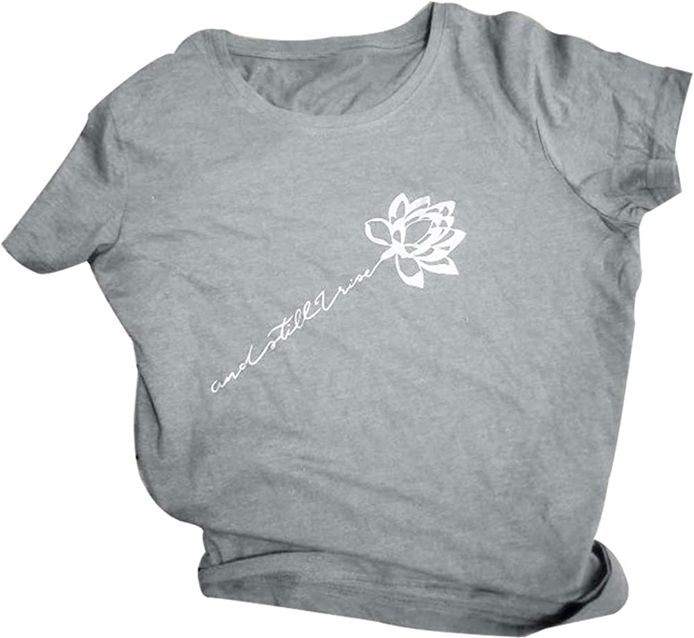 NewCime Women Short Sleeve and Still I Rise Rose Letter T-Shirt Casual Tops Crop Shirt