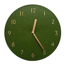Decorative Wall Clock Silent & Non-Ticking Quartz Clock PU Leather Lightweight 0.4lb Round 9 (Khaki)