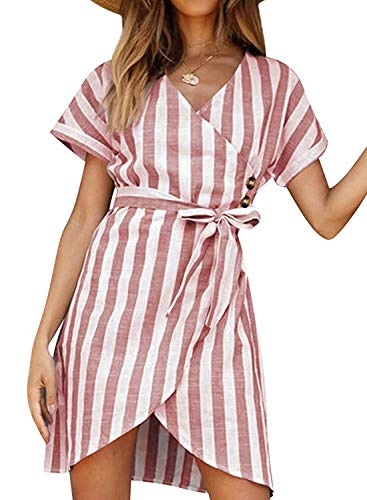 Sidefeel Women V Neck Stripe Short Sleeve Tie Waist Wrap Dress Large Pink