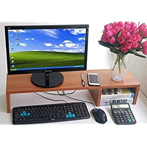 "31.5 Inch Very Large Computer Monitor Riser Or Laptop Stand. It Is A Long Sturdy Dual Double Or Multi Desktop Monitor Screen Riser (Brown, 4.3"")"