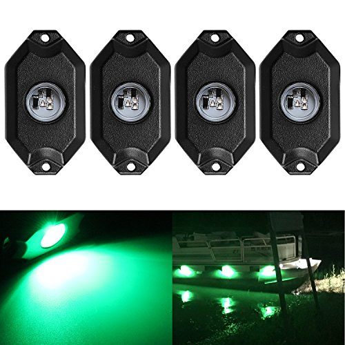 (Northpole Light 4PCS 9W GREEN LED Rock Lights Waterproof Underbody Glow LED Neon Trail Rig Lights for Car Truck Jeep Offroad ATV UTV Raptor Boat)