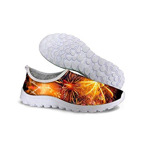 För U Designar Coola Unisex Womens & Mens Mesh Ljus Andas Sneaker Löparskor Gul C4