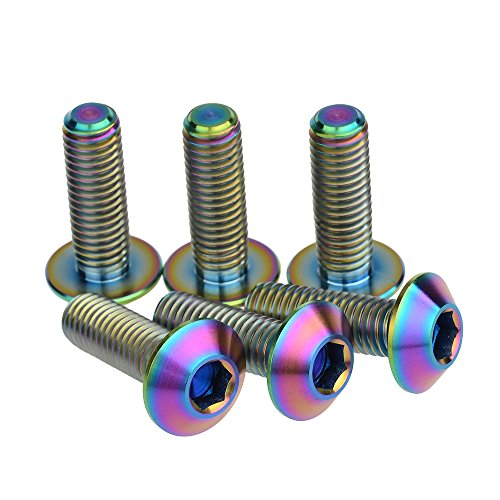 Titanium Allen Bolts - Wanyifa Titanium Ti M8X25mm Allen Button Head Bolt Rainbow Finish Screw Pack of 6