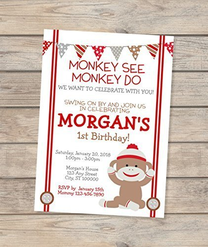amazon com sock monkey invitation custom mod monkey birthday party