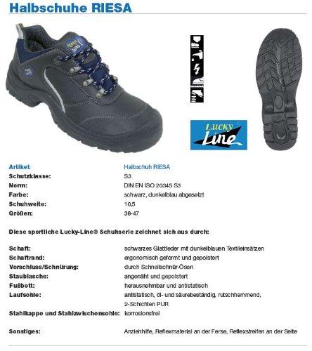 Lucky Line Riesa - Calzado de protección para hombre negro Schwarz/Dunkelblau, color negro, talla 38