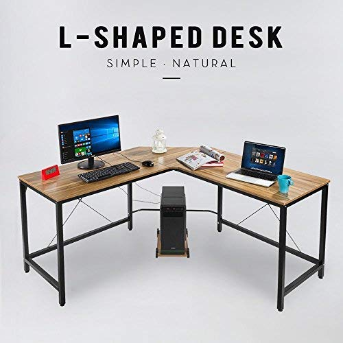 L-Shape Corner Computer Desk PC Workstation Home Office Furniture Wood & Metal Free CPU Stand (Bronze)