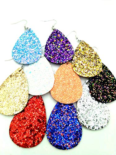 10pairs pack, Women's 10colors rough Faux Leather Teardrop Dangle Pierced Earrings (multicolor)