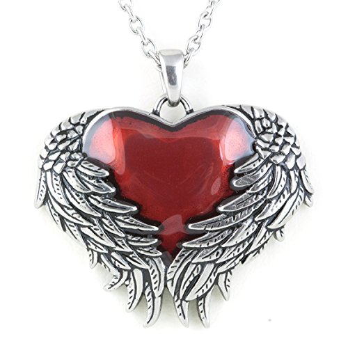 Controse Womens Silver-Toned Stainless Steel - Guarded Heart Necklace with Pendant 28
