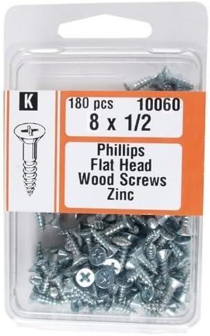 Midwest Fastener 10060#8 x 1//2 Phillips Flat Head Wood Screws Zinc Plated 180 per Package