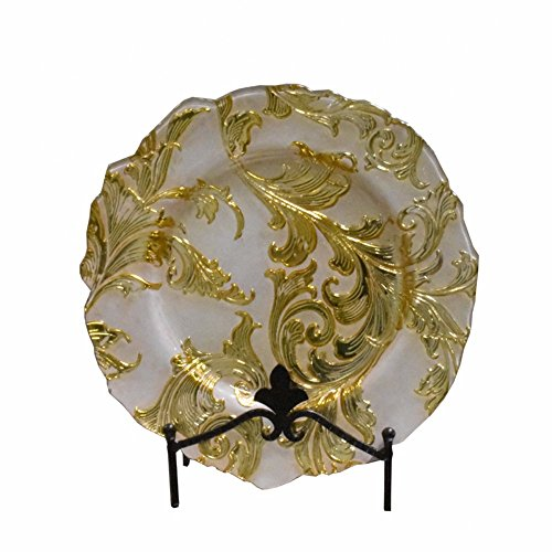 (Benzara Well-Designed Glass Charger with Floral Pattern, White and Gold Plates,)