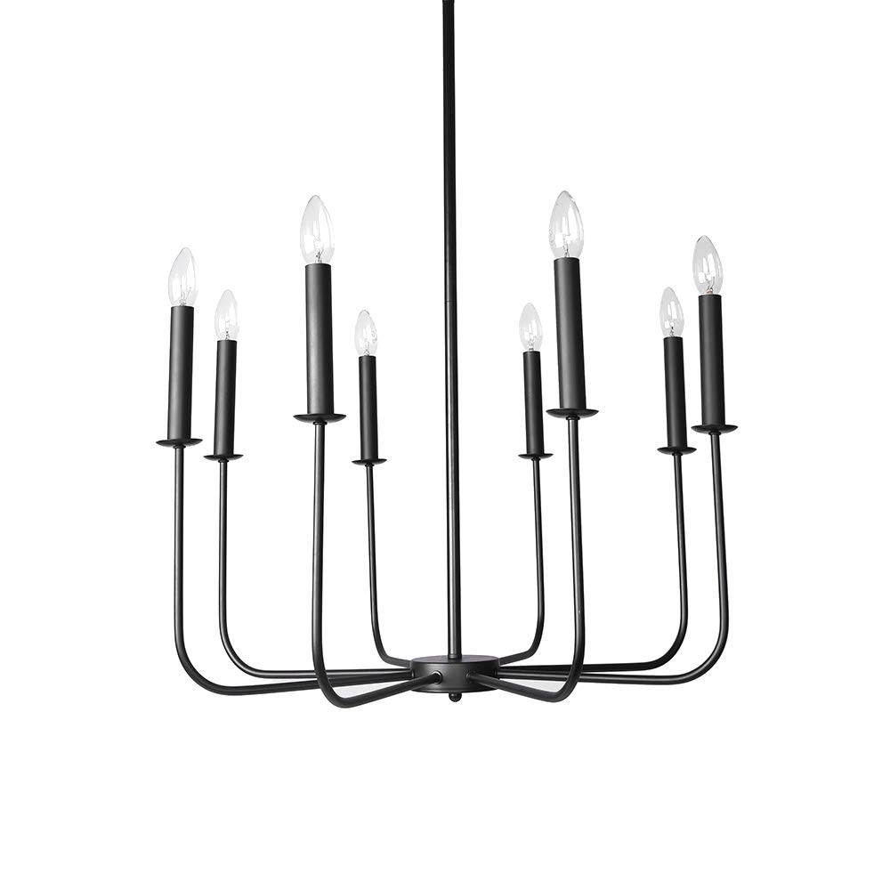 Lingkai Chandelier Lighting 8-Light Metal Pendant Ceiling Light Modern Hanging Light Fixture for Living Room Dining room Bedroom Hallway