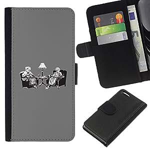 YiPhone /// Tirón de la caja Cartera de cuero con ranuras para tarjetas - Vintage Tea Party Banksy Retro - Apple Iphone 5C