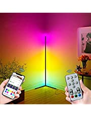 Corner Floor Lamp - HaiZR Smart WiFi RGB Colorful LED Floor Lamps Works with Amazon Alexa & Google Assistant, Super Bright Adjustable Colour Changing Floor Ambiance Light with Music Sync, for Living Room Bedroom Office