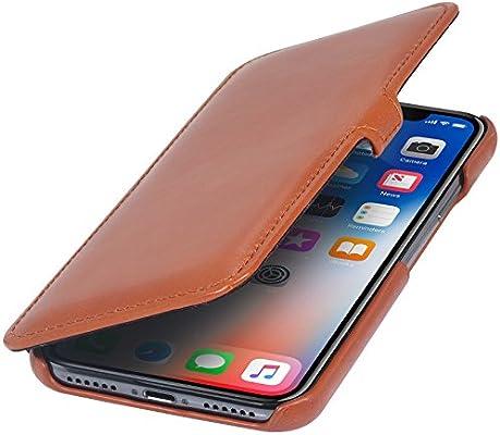 8d6f0d342d Amazon.com: StilGut Genuine Leather Case for iPhone Xs & iPhone X, Book  Type Folio Flip Cover with Closure, Cognac Brown: Cell Phones & Accessories