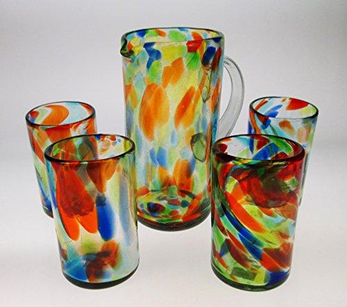 Mexican Glasses 16 oz & Pitcher, Liquid Confetti Swirl (Set of 4)