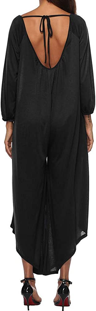TAGGMY Jumpsuits for Women Plus Size Backless Overalls Long Sleeves Rompers Casual Playsuits Ladies Loose Pants