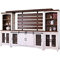 "Crafters and Weavers Granville White 122"" TV Stand Wall Unit"