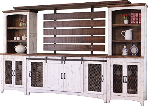 Oak Entertainment Wall Unit - Crafters and Weavers Granville White 122