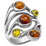 Best Ian and Valeri Friend Rings Sterling Silvers - Multicolor Amber and Sterling Silver Band Ring, Sizes Review