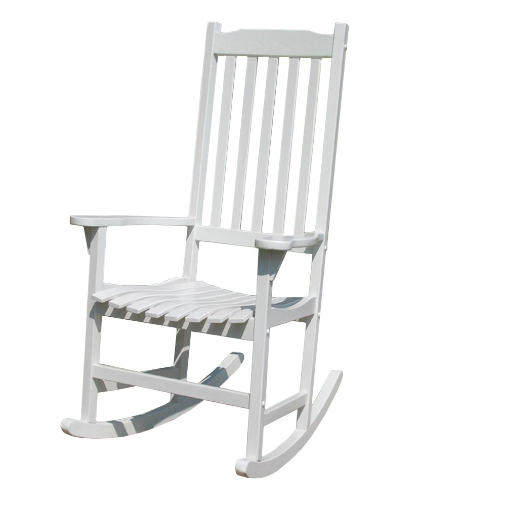 White Rocking Chair - Amazon com merry garden white porch rocker rocking chair acacia wood patio rocking chairs patio lawn garden