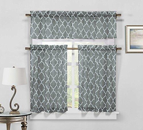 Sheer 3 Piece Kitchen Window Curtain/Cafe Tiers Set: Trellis Design, 1 Valance, 2 Tier Panels (Mediterranean 3 Piece Set)