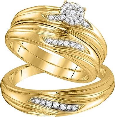 10k Yellow Gold Diamond Trio His & Hers Matching Trio Wedding Band Engagement Bridal Ring Set 1/5 Ctw