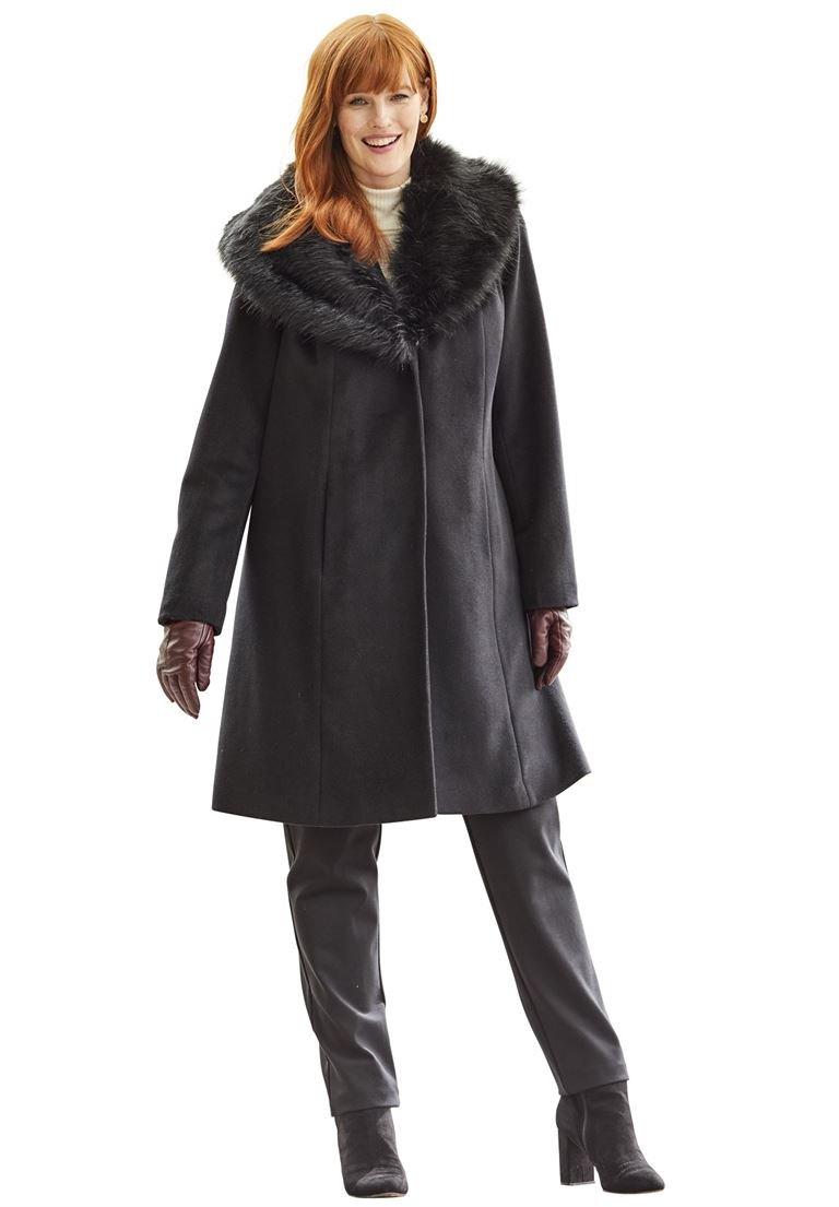 Jessica London Women's Plus Size A-Line Wool-Blend Coat Black,16 by Jessica London