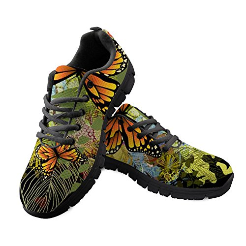 (Bigcardesigns Outdoor Walking Hiking Sports Shoes Women Butterfly Print Trendy Trainers Running Sneakers Size 9 B(M) Women-EUR 39 Green)