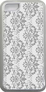 LJF phone case Rikki KnightTM Shabby Chic Grey Damask Design iPhone 5c Case Cover (Clear Rubber with bumper protection) for Apple iPhone 5c