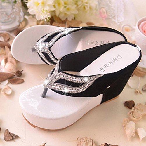 Pantuflas de verano, Internet Mujeres verano flip flops bohemia zapatillas Blanco
