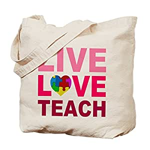 CafePress - Live Love Teach Autism - Natural Canvas Tote Bag, Cloth Shopping Bag