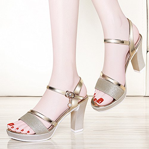 New Lady KPHY Heel Mouths Heels Sandals 9Cm Middle Summer Shoes High Shoes Golden Style Heel Fish Buckles Golden Women Women'S Rough Toes Word zgtxw4g