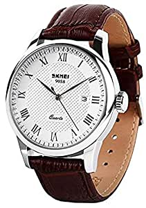 Mens Quartz Watch, Roman Numeral Business Casual Fashion Analog Wrist Watch Classic Calendar Date Window, Waterproof 30M Water Resistant Comfortable PU Leather Watches