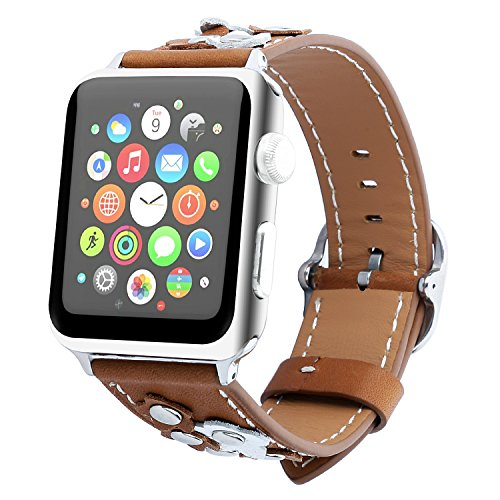 Brown Floral Band - MeShow TCSHOW 38mm Floral Flower Genuine Leather Replacement Strap Wrist Band with Silver Metal Adapter Compatible for Apple Watch Series 3 Series 2 and Series 1 (Brown)