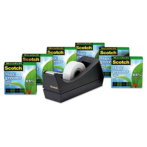 Scotch Magic Eco-Friendly Tape - 0.75quot; Width x 900quot; Length - Non-yellowing, Tear Resistant, Split Resistant, Writable Surface, Photo-safe - Dispenser Included - 6 / Pack - Clear by Scotch (Image #1)