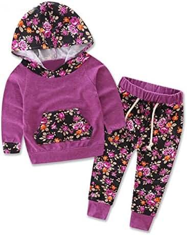 TIFENNY Baby Kids Long Sleeve Floral Print Tracksuit Top +Pants Sets