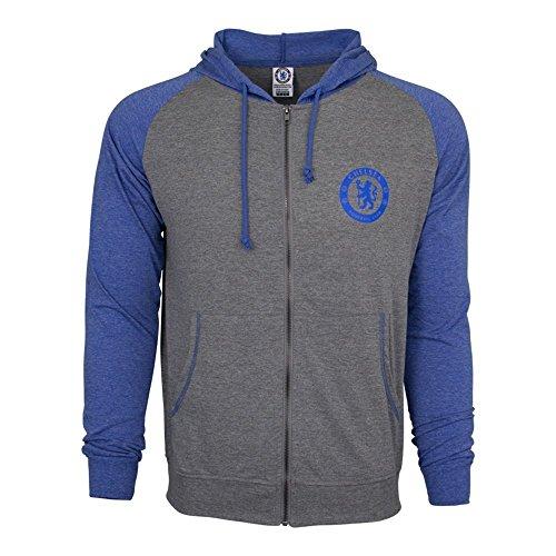 Chelsea FC Hoodie Summer Light Zip up Jacket Grey Youth Kids (Youth Medium) ()