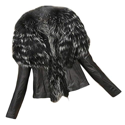 Giubotto Di Pelliccia Giacche Grazioso Squisito Outerwear Eleganti Outwear Fit Nero Sintetica Autunno Giacca Adattamento Pelle Stlie Moda Slim Cappotti Donna Invernali 8wdqP8B