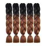 NATURAL BEAUTY 5Pcs 100g/Pcs Synthetic Braiding Hair Bundles Kanekalon Hair Ombre Twist Braid