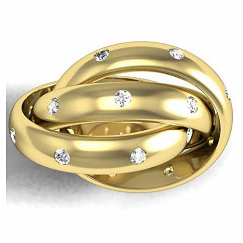 White Gold Diamond Rolling Ring - 0.24ct TDW White Diamonds 14K Yellow Gold Rolling Women's Wedding Band (G-H, SI1-SI2) (4mm) Size-7c2